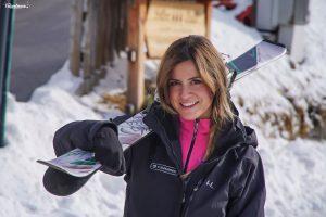 Michela pronta per la prima sciata della giornata