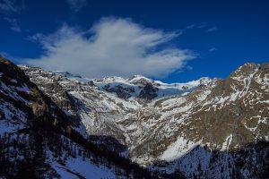 Vista sulle montagne nel comprensorio sciistico Alagna V.